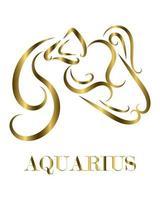 Aquarius zodiac line art vector