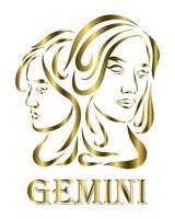 Gemini zodiac line art vector