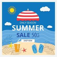 Summer sale banner template and background Hot season discount poster Flat design Vector illustration