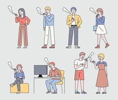 Collection of people characters who smoke vector