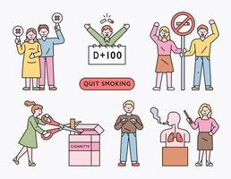 Those who decide to quit smoking. flat design style minimal vector illustration.