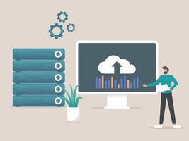 Administration of Hosting Services Data Storage Server web hosting server rack vector