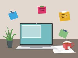 Workplace working from home Virtual chat webinar vector