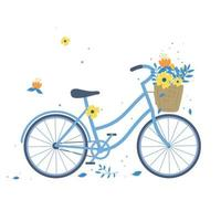 Hand drawn bicycle or bike carrying baskets with flowers and plants isolated on white background vector