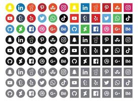 social media icons collection with original logos vector set different styles