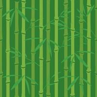 Patrón sin fisuras con hojas de bambú y troncos en tonos verdes. vector