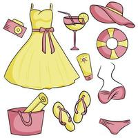 Set of elements for a beach holiday Dress bag hat cocktail sunscreen flipflops swimsuit foto camera lifebuoy vector