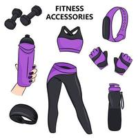 Fitness accessories in cartoon style Vector illustration isolated  white background