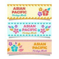 colección de pancartas del mes de la herencia del pacífico asiático vector
