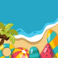 Beach Background with Summer Elements vector