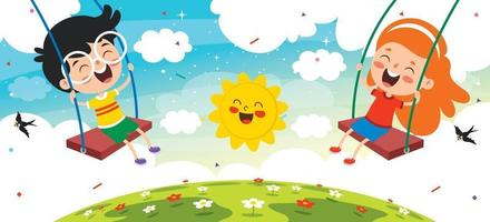 Funny Kids Playing In A Swing vector
