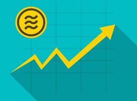 Gráfico de crecimiento del concepto de moneda libra en moneda medalla vector