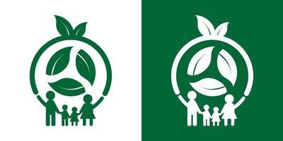 Family ecology logo concept design vector