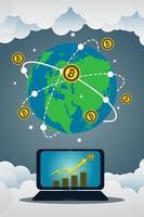 concepto de negocio bitcoin con laptop vector