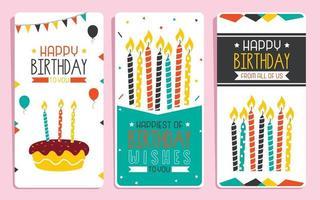 linda plantilla de tarjeta de cumpleaños colorida vector