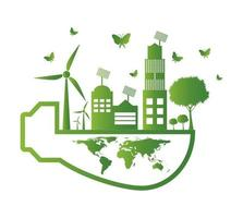 Ecology global concept vector