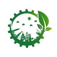 ecología engranaje verde eco ciudad diseño vector