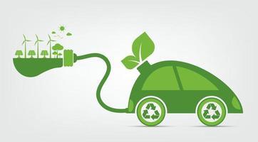 Ecology and Environmental Eco Car Concept vector