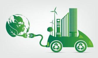 Ecology and Environmental Cityscape Concept vector