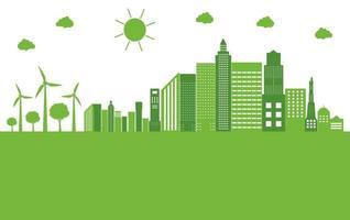 concepto de ciudad de ecología verde vector