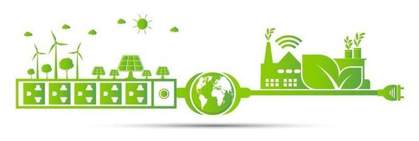 Factory ecology energy concept vector