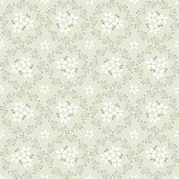 seamless floral wreath pattern beige green and white vector