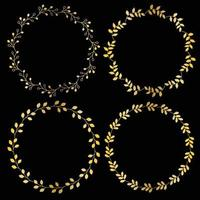 metallic gold circular frames with leaf patterns vector