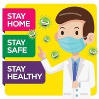médico con mascarilla asesora y sensibiliza al público para combatir el virus vector