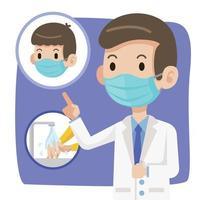 médico con mascarilla quirúrgica aconseja a las personas que usen mascarilla quirúrgica y se laven las manos para protegerse contra el virus vector