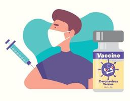 A man wear protective face mask and received vaccine to prevent attack by coronavirus vector