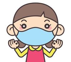 Cute little girl wearing face mask and showing okay hand signs vector