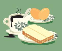 Traditional Nanyang oriental style coffee and half boiled eggs with kaya butter toast set vector