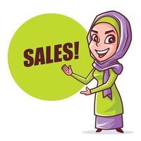 Muslim hijab woman presenting Sales signboard vector