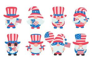 4th of july Gnomes wore an American flag costume to celebrate Independence Day vector
