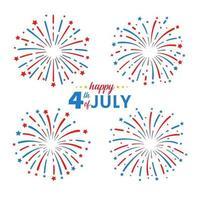 los fuegos artificiales de la bandera estadounidense del 4 de julio para celebrar el día de la independencia de américa vector