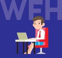 A young man wearing short pant and working with laptop at work desk vector