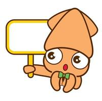 Cartoon cute squid with green bowtie holding empty white signboard vector