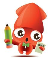 Cartoon squid character holding pencil and taking order vector