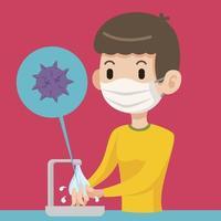 Hombre con máscara quirúrgica y lavarse las manos para matar el virus y prevenirlo de bacterias y virus. vector