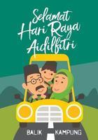 Muslim family drives car back to hometown for celebrating Selamat Hari Raya Aidilfitri Raya vector