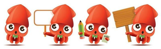 Cartoon cute squid with bowtie mascot set with holding big wooden signboards or taking order with pencil and notebook vector