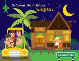 Muslim family back to hometown by car to meet with grandparent for celebrating Muslim festival Hari Raya  in Traditional Malay village house vector
