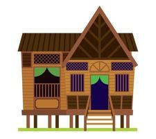 Traditional vintage village Malay House or Rumah Kampung Melayu in Malaysia vector
