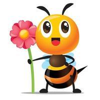 abeja linda de dibujos animados con una sonrisa sosteniendo una gran flor rosa para la celebración vector