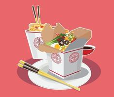 Sopa tradicional china con fideos, fideos ramen japoneses vector