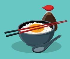 Tamago Kake Gohan Japanese Style Rice With Egg Vector illustration