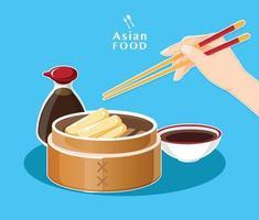 Dim sum menu Asian food vector illustration