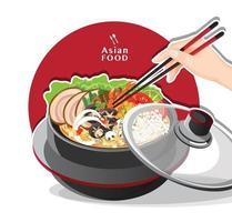 Sukiyaki in hot pot at restaurant Hand holding chopsticks eating Shabu vector illustration