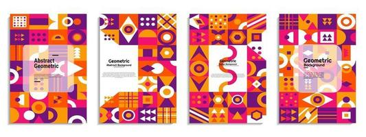 Abstract cover set Bauhaus geometric pattern background vector