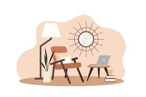 Stylish apartment interiors in Scandinavian style with modern decor vector